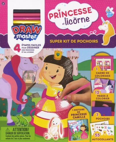 PRINCESSE ET LICORNE-SUPER KIT DE POCHOIRS