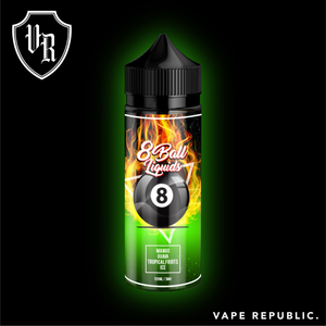8 Ball liquids - Mango, Guava and other Tropical fruits on Ice: A combination of too of our most loved fruits, magnificently ripened mango and guava, mixed to perfection with other tropical fruits to bring out an explosion of flavour. All these fruits blended to perfection with the right balance of cool to keep you begging for more!