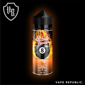 8 Ball liquids - Mango Passionfruit on Ice: Succulent Juicy Mango Blended to perfection with the tartness of a sweet and tangy Passion fruit, served chilled straight out of the fridge.