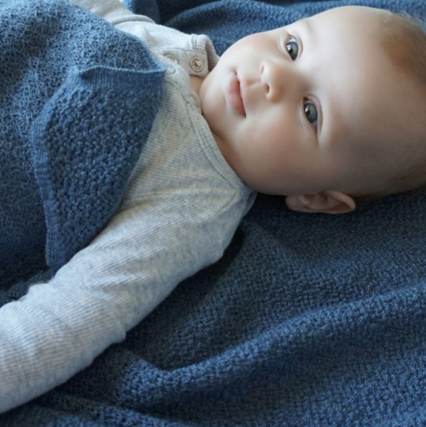 Lacey Knitted Soft Wool Baby Blanket - Denim Blue