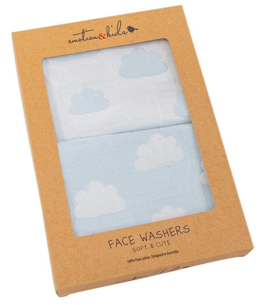 Blue Cloud Muslin Face Washers - Haut Monde