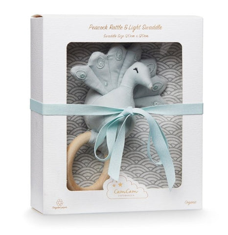 CAM CAM Gift Box with Swaddle and Peacock Rattle Grey Wave - Haut Monde