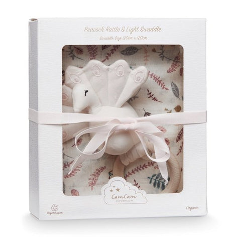 CAM CAM Gift Box with Swaddle and Peacock Rattle Pressed Leaves Rose - Haut Monde