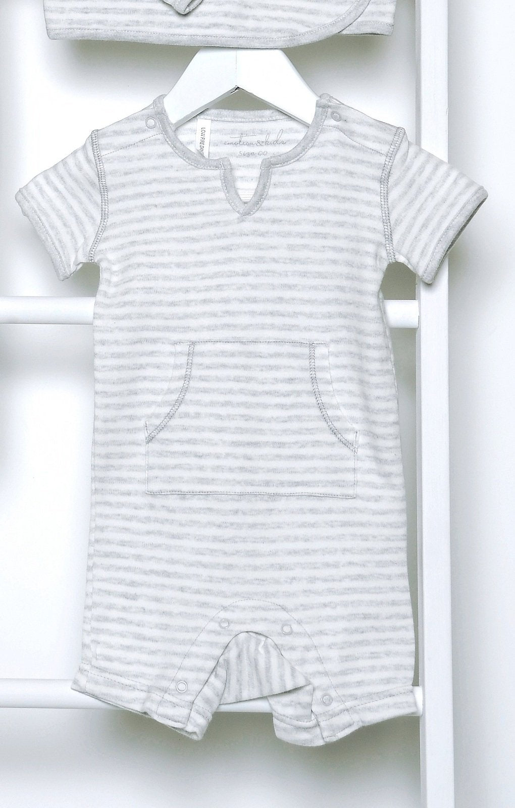 Grey French Stripe Short Sleeve Bodysuit - Haut Monde