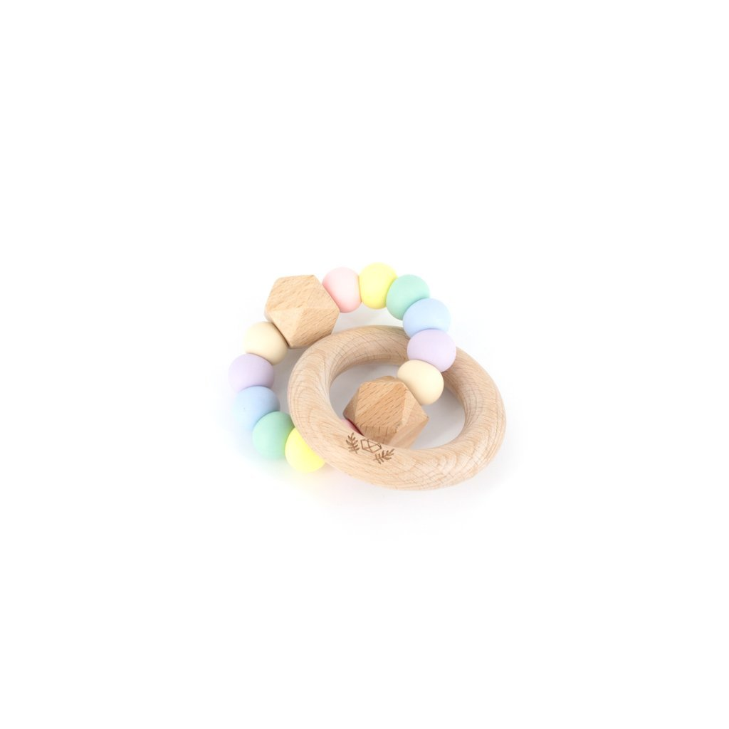 HEXX TEETHING RATTLE IN PASTEL RAINBOW - Haut Monde