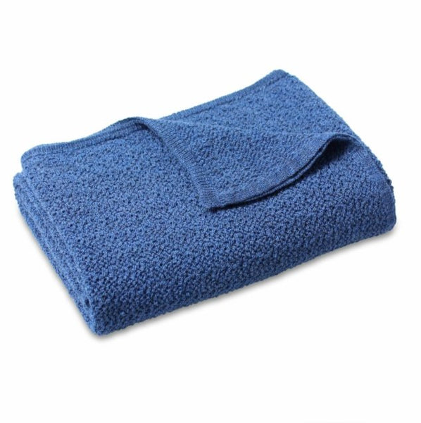 Lacey Knitted Soft Wool Baby Blanket - Denim Blue - Haut Monde