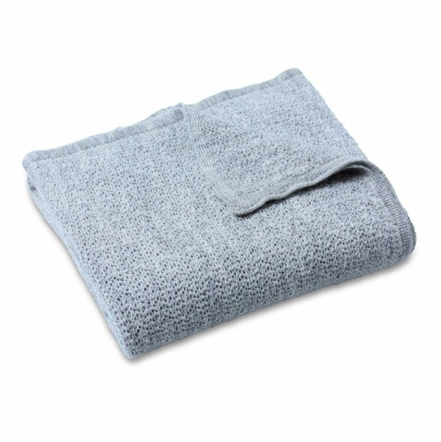 Lacey Knitted Soft Wool Baby Blanket - Grey - Haut Monde