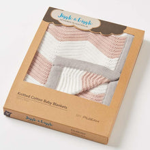 Load image into Gallery viewer, Zig Zag Knit Baby Blanket Pink - Haut Monde