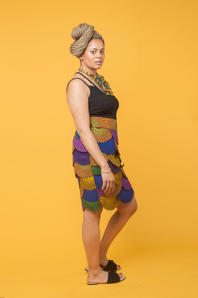 Fish Scale African Midi Skirt