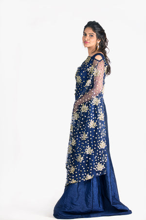 NAVY BLUE SEQUINED GOWN