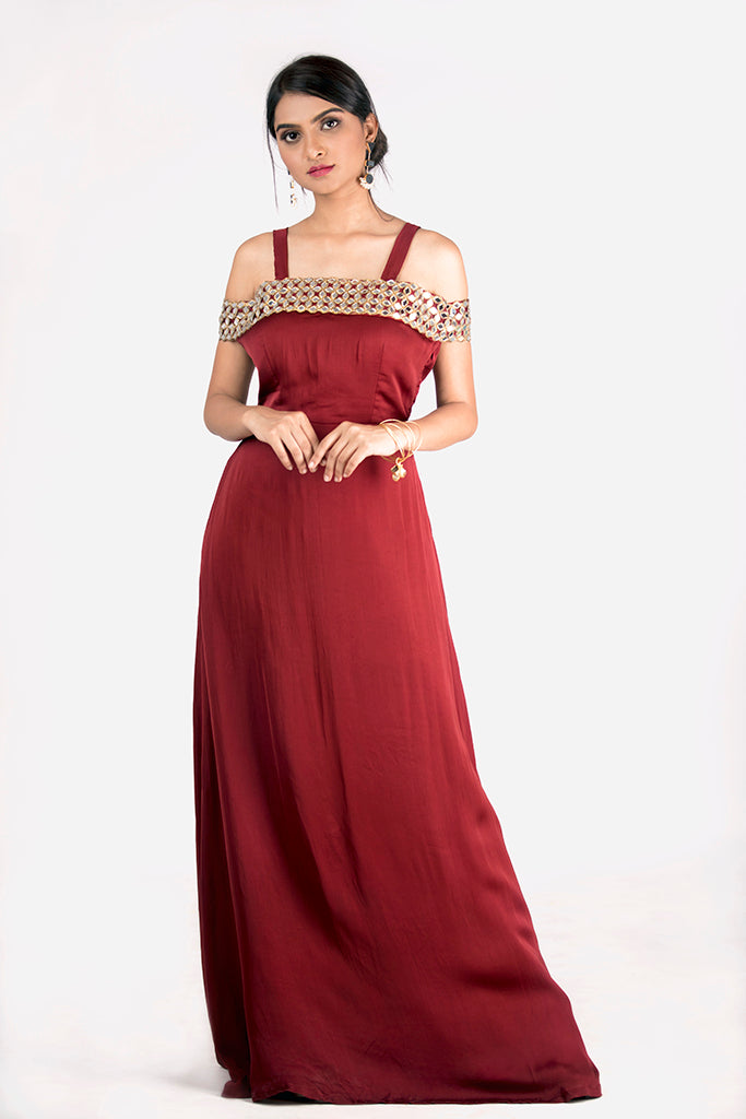 OFF SHOULDER MIRROR WORK GOWN