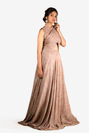 GREY and pink printed GOWN WITH FRONT WAIST CUT