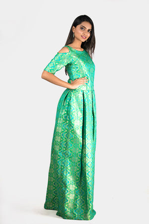 COLD SHOULDER BROCADE GOWN