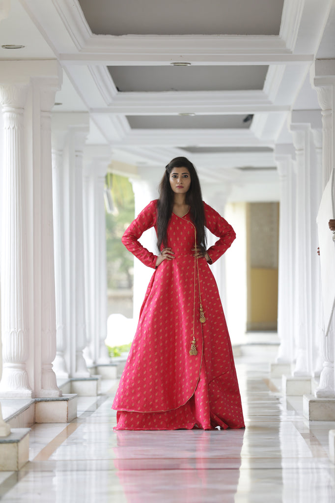 RED BROCADE ANGRAKHA GOWN
