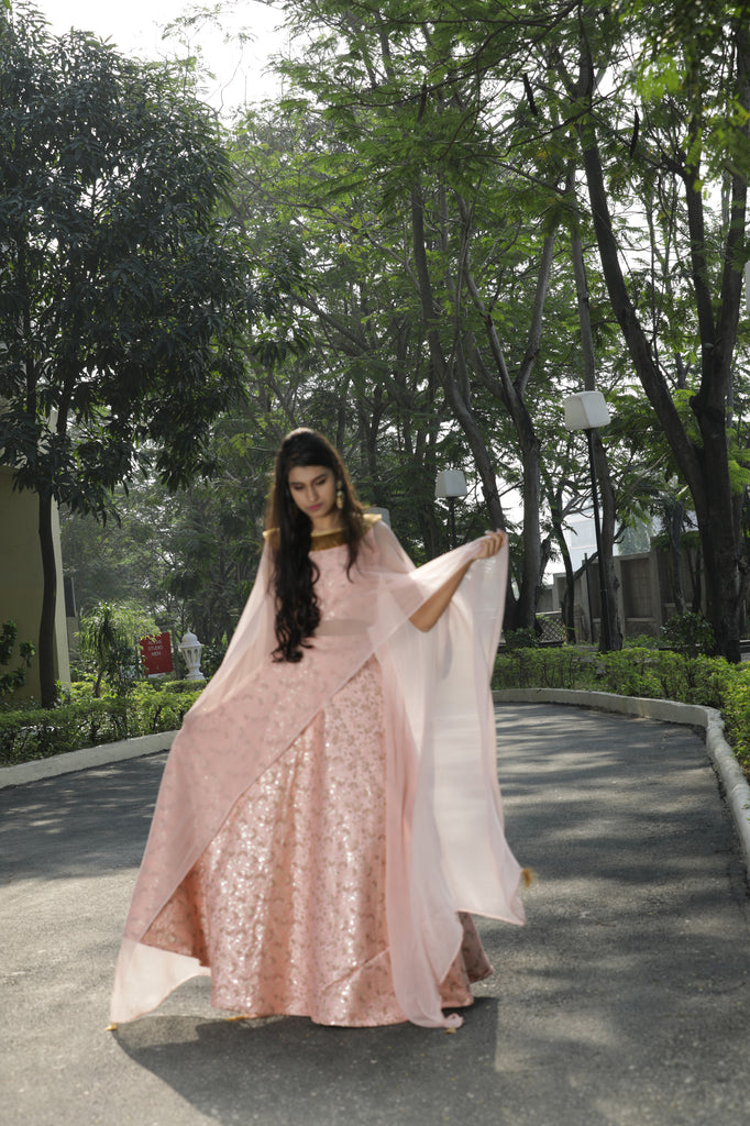 PEACH LEHENGA ATTACHED DUPATTA