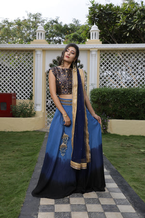 SHADED LEHENGA CHOLI DUPATTA SET