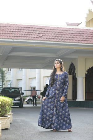 NAVY BLUE FLORAL GOWN WITH HAND WORK