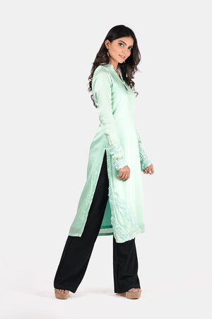 MINT GREEN SATIN SILK KURTI