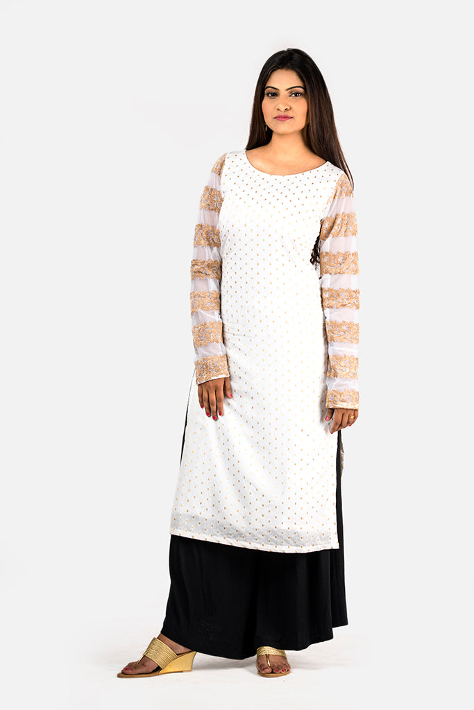 WHITE KURTI-EMBROIDERED SLEEVES