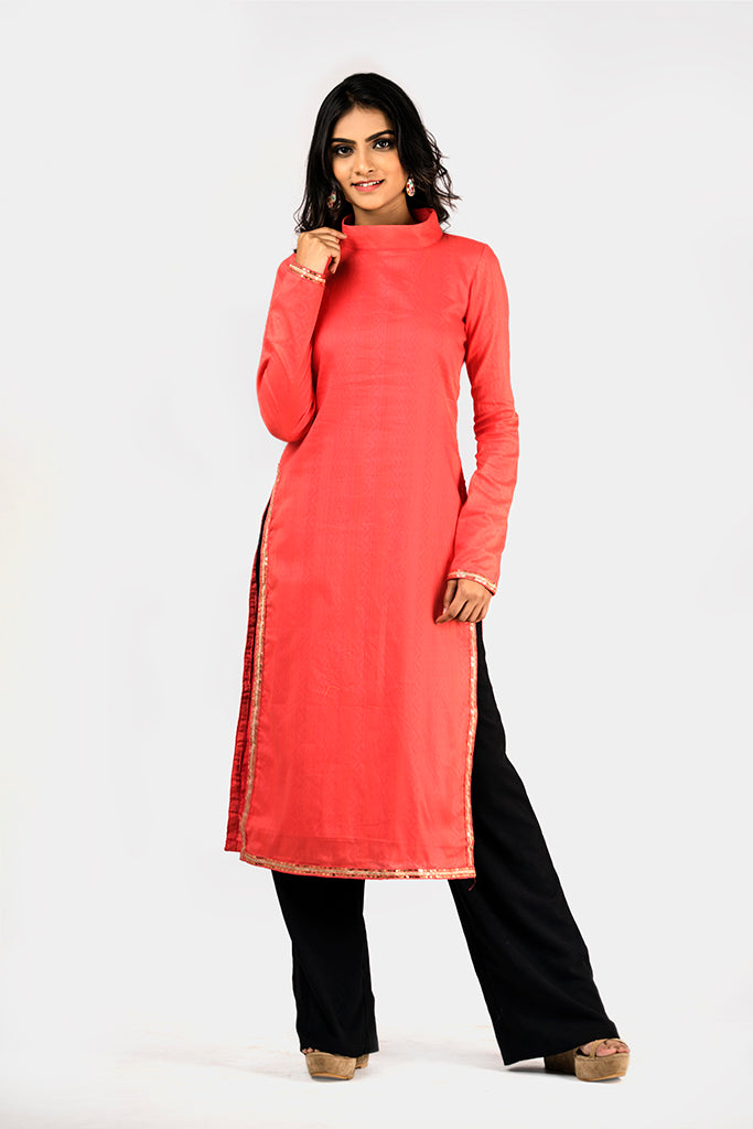 PEACH PINK KURTI WITH  CLOSED COLLER