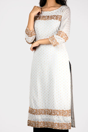 WHITE KURTI WITH GOLDEN EMBROIDERY