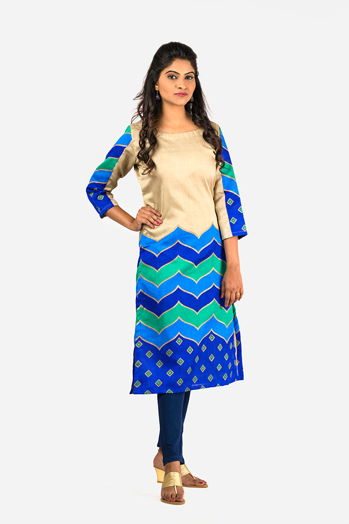 BEIGE PRINTED COTTON SILK KURTI