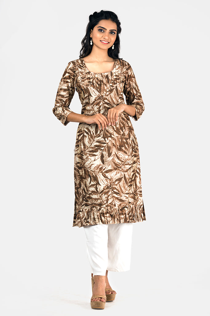 BROWN PRINTED KRUTI