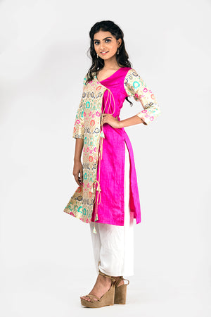 HOT PINK AND BROCADE KURTI