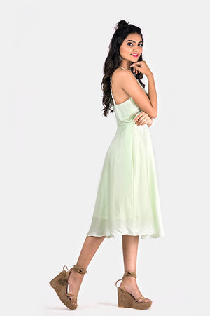 PASTEL GREEN SATIN FLARED DRESS