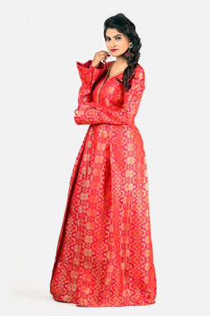 BROCADE FLARED SLEEVE GOWN