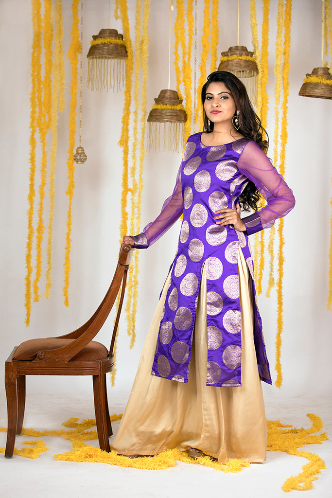 PURPLE BROCADE KURTI WITH GOLDEN SKIRT