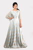 FOIL PRINTED GOWN WITH FLARED SLEEVES