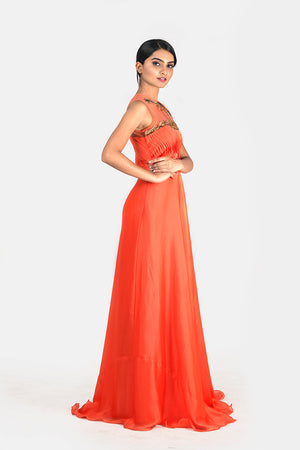 FLARE GOWN WITH ASYMMETRICAL NECK