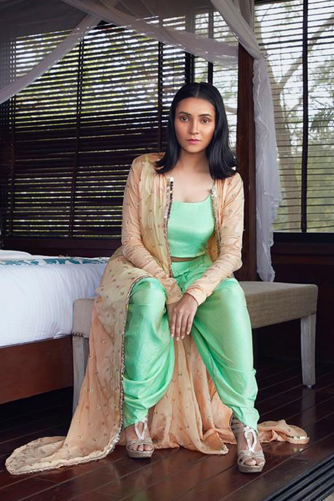 DHOTI CROPPED TOP AND A LONG JACKET