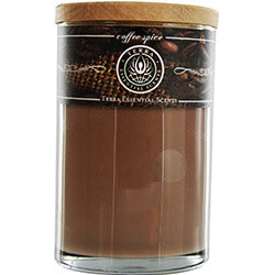 Coffee Spice Aromatherapy By Coffee Spice Aromatherapy One 12oz Pillar, Aromatherapy Candle.  Arabica Coffee, Nut & Spice With Clear Quartz Gemstones. Burns Approx. 40 Hrs.