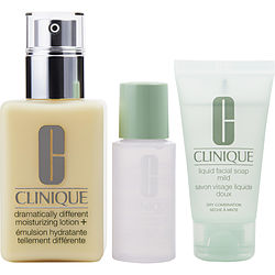 Clinique By Clinique Dramatically Different Moisturizing Lotion ( With Pump )--125ml/4.2oz + Liquid Facial Soap --30ml/1oz + Clarifying Lotion --30ml/1oz (Dry To Combination Skin)