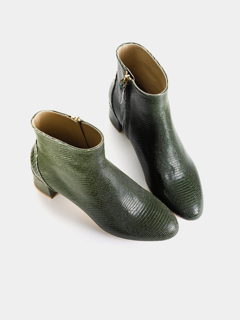 Monti Forest Green Embossed Leather