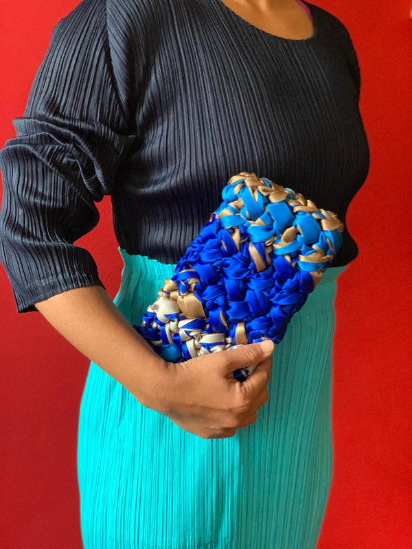 Lorenza Gandaglia Ribbon Clutch Blue