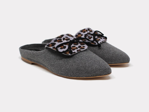 Cortina Slippers Grey Leopard