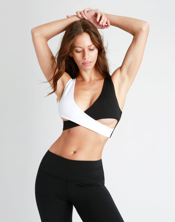 Monochrome Crossover Sports Bra