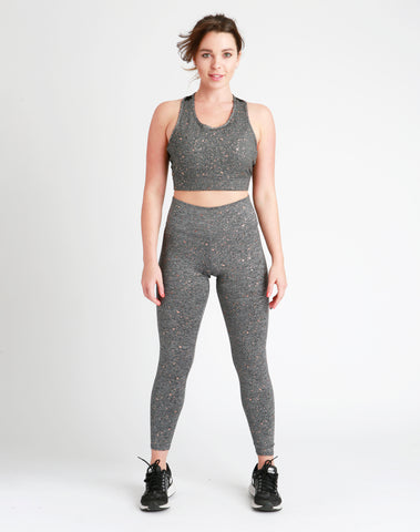 Grey & Bronze High-Waisted Leggings