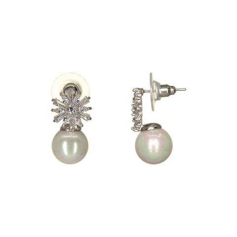 Image of UrbnStyl Pearl Drop Earring Design - Silver