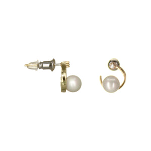 UrbnStyl Moon Earring Design with Pearl and AD - Gold