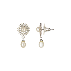 UrbnStyl Single Dangling Pearl Earring with AD Chakra - Silver Color