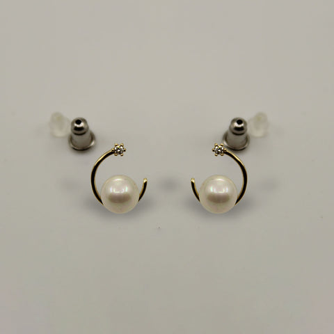 Image of UrbnStyl Moon Earring Design with Pearl and AD - Gold