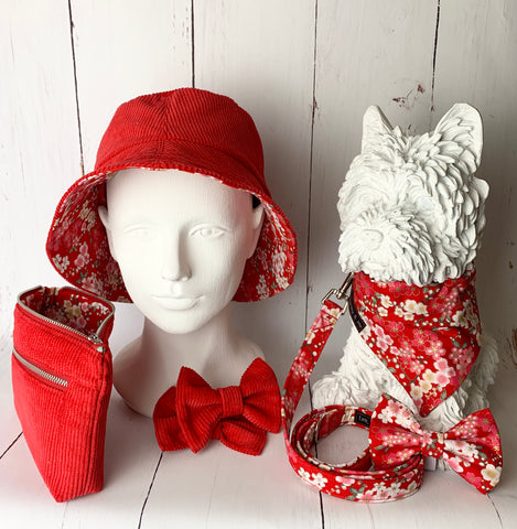 Handmade dog accessories with matching hats and bags for owners.