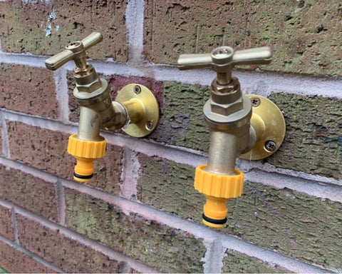 Outdoor hot and cold water taps