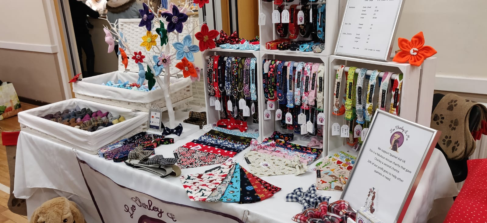 Leo Charley and Me stall selling fabric dog collars, leads, bandanas and bows.