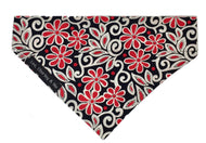 Beautiful black red and cream floral print dog bandana. Made from soft cotton poplin fabric.Hand made in the U.K. and washable.