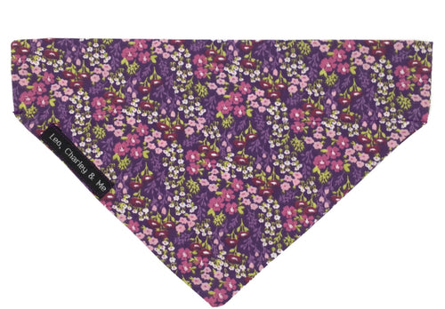 Lilac Meadow floral print dog bandana in shades of pink, lilac and purple with hints of green foliage make this a real hit for summer. Perfectly matches the Lilac Meadow Comfy Collar.